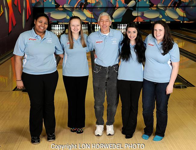 Skyline High School boy's and girl's bowling teams. Colonial Lanes, Ann Arbor, 2-3-14.