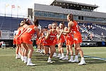 DURHAM, NC - FEBRUARY 16: Campbell's Sarah Paul (15). The Duke University Blue Devils hosted the Campbell University Camels on February 16, 2018, at Koskinen Stadium in Durham, NC in women's college lacrosse match. Duke won the game 18-8.
