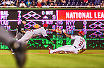 20 May 2014: Washington Nationals outfielder Denard Span slides safely into second as Brandon Phillips reaches for the throw during play against the Cincinnati Reds at Nationals Park in Washington, DC. Span tied his career high of going 5 for 5 as the Nationals defeated the Reds 9-4 to take the second game of their 3-game series. Mandatory Credit: Ed Wolfstein Photo *** RAW (NEF) Image File Available ***