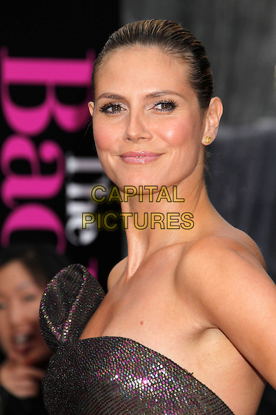 "HEIDI KLUM .""The Back-up Plan"" Los Angeles Premiere held at the Regency Village Theatre, Westwood, California, USA, 21st April 2010. .arrivals portrait headshot hair up make-up beauty strapless brown shimmery shiny sparkly bronze gold pink purple sequined sequin green khaki .CAP/ADM/MJ.©Michael Jade/AdMedia/Capital Pictures."