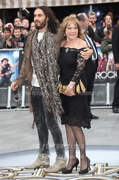 Russell Brand and mother arriving for the Rock Of Ages Premiere, Odeon Leicester Square, London. 10/06/2012 Picture by: Alexandra Glen / Featureflash