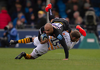 Exeter Chiefs' Olly Woodburn Exeter Chiefs' Olly Woodburn is tackled by Wasps' Willie Le Roux<br /> <br /> Photographer Bob Bradford/CameraSport<br /> <br /> Gallagher Premiership - Exeter Chiefs v Wasps - Sunday 14th April 2019 - Sandy Park - Exeter<br /> <br /> World Copyright © 2019 CameraSport. All rights reserved. 43 Linden Ave. Countesthorpe. Leicester. England. LE8 5PG - Tel: +44 (0) 116 277 4147 - admin@camerasport.com - www.camerasport.com