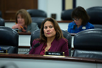 United States Representative Veronica Escobar (Democrat of Texas) listens as Dr. Heidi Beirich, Co-Founder and Chief Strategy Officer at Global Project Against Hate and Extremism, Dr. Mark Pitcavage, Senior Research Fellow at the Center on Extremism, and Lecia Brooks, Chief Workplace Transformation Officer at the Southern Poverty Law Center, testify before the Subcommittee on Military Personnel at the United States Capitol in Washington D.C., U.S. on Tuesday, February 11, 2020.  <br /> <br /> Credit: Stefani Reynolds / CNP/AdMedia