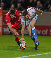 7th February 2020; AJ Bell Stadium, Salford, Lancashire, England; Premiership Cup Rugby, Sale Sharks versus Saracens;  Will Cliff of Sale Sharks touches down and scores Sales second try to make it 14-0
