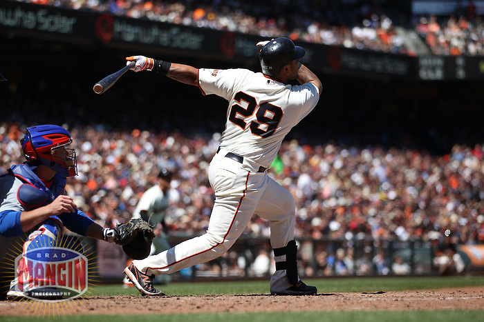 SAN FRANCISCO, CA - JUNE 3:  Hector Sanchez #29 of the San Francisco Giants bats during the game against the Chicago Cubs at AT&T Park on Sunday, June 3, 2012 in San Francisco, California. Photo by Brad Mangin