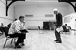 """King Lear"" rehearsed reading rehearsals. Old Vic Theatre. Director: Jonathan Miller. L to R: Christopher Brand, Jonathan Miller."