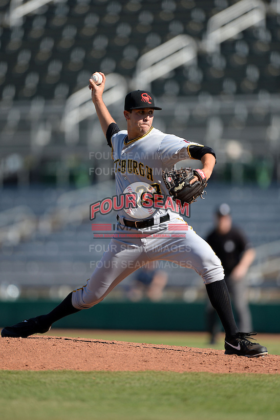 Scottsdale Scorpions pitcher Zack Thornton (23), of the Pittsburgh Pirates organization, during an Arizona Fall League game against the Mesa Solar Sox on October 15, 2013 at HoHoKam Park in Mesa, Arizona.  Mesa defeated Scottsdale 7-4.  (Mike Janes/Four Seam Images)
