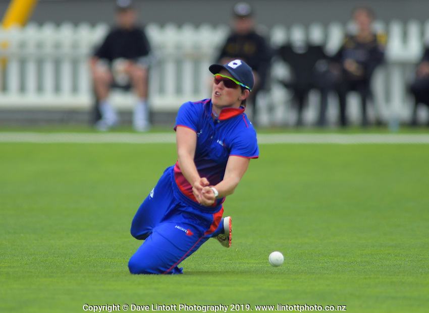 Auckland's Holly Huddleston tries to catch Wellington's Rebecca Burns during the women's Hallyburton Johnstone Shield cricket match between the Wellington Blaze and Auckland Hearts at Basin Reserve in Wellington, New Zealand on Sunday, 17 November 2019. Photo: Dave Lintott / lintottphoto.co.nz
