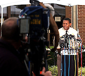 """Rockville, MD - October 19, 2002 -- Montgomery County (MD) Police Chief Charles A. Moose conducts a press conference in Rockville on 19 October, 2002.  The Chief declined to answer many questions including whether or not the box truck located at a car rental company in Herndon, VA, near Washington Dulles Airport, has any connection to the """"Beltway Sniper"""" case.<br /> Credit: Ron Sachs / CNP<br /> (RESTRICTION: NO New York or New Jersey Newspapers or newspapers within a 75 mile radius of New York City)"""