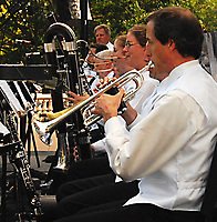 The Wisconsin Chamber Orchestra brass section prepares for the 2007 season of Concerts on the Square with a dress rehearsal Monday on the Capitol steps