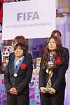 (L to R) Shinobu Ono (JPN), Homare Sawa (JPN), DECEMBER 27, 2011 - Football / Soccer : Shinobu Ono and Homare Sawa of Japan attend Celebration party for FIFA Women's World Cup Champion at Tokyo Dome City in Tokyo, Japan. (Photo by Yusuke Nakanishi/AFLO SPORT) [1090]