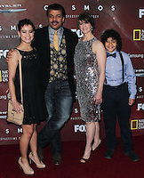 """LOS ANGELES, CA, USA - MARCH 04: Miranda Tyson, Neil deGrasse Tyson, Alice Young, Travis Tyson at the Premiere Of FOX's """"Cosmos: A SpaceTime Odyssey"""" held at The Greek Theatre on March 4, 2014 in Los Angeles, California, United States. (Photo by Xavier Collin/Celebrity Monitor)"""