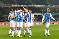 Real Sociedad's players celebrate goal during La Liga match.November 23,2013. (ALTERPHOTOS/Mikel)