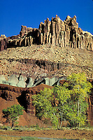 Cliffs, Navajo sandstone, Kayenta formation, Wingate sandstone formation, chinle formation, Moenkopi formation, Fall , butte, massif, redrock, slickrock, southern Utah, Colorado plateau. Fruita Utah United States Capitol Reef National Park.