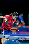 Aida Dahlen of Norway takes on Jingdian Mao of CHina in the first round of the women's SW8 Table Tennis competition, London Paralympic Games, 2012