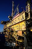 Rio de Janeiro coast, Brazil. Petrobras offshore oil platform PGP-1 in the Campos Basin.