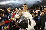 Cristiano Ronaldo of Real Madrid with the trophy during the Champions League Final match at the Millennium Stadium, Cardiff. Picture date: June 3rd, 2017.Picture credit should read: David Klein/Sportimage