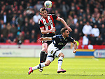 Jack O'Connell of Sheffield Utd and Jed Wallace of Millwall during the championship match at the Bramall Lane Stadium, Sheffield. Picture date 14th April 2018. Picture credit should read: Simon Bellis/Sportimage