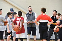 """Coach Chad Neipling gives an orientation to basketball players, Sunday, February 9, 2020 during a basketball tryout at Rogers High School in Rogers. Check out nwaonline.com/200210Daily/ for today's photo gallery.<br /> (NWA Democrat-Gazette/Charlie Kaijo)<br /> <br /> Coach Chad Neipling started a new AAU (Amateur Athletic Union) basketball team called the NWA Devils to provide young basketball players opportunities to build their fundamentals and conditioning in the sport and compete against other AAU teams at a national level. The program gives kids national recognition, tracks player stats and attracts attention from coaches.<br /> <br /> Neipling and other parents wanted additional basketball programs for their kids but found problems in other programs they tried so he started his own. """"Our kids played competitively together. We had been a part of some organizations Where we had to pay a lot of money to get our kids there. Sometimes we'd show up and we didn't have a facility or we went to a tournament and we weren't in the tournament. There wasn't a focus on the fundamentals. A lot of it we felt like was a money grab.""""<br /> <br /> After selecting the players for the team, they will prepare for their first tournament in March. He wants to provide competitive opportunities for the kids but also ensure they grow to be good people. """"We're gonna do some community service. We'll go out and go to the Arkansas food bank,"""" he explained to the kids before starting the tryout. """"I want you to go out in the community and be seen. It's about building great people before a great basketball player."""""""