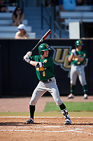 Siena Saints second baseman Eric Havner (9) at bat during a game against the UCF Knights on February 17, 2019 at John Euliano Park in Orlando, Florida.  UCF defeated Siena 7-1.  (Mike Janes/Four Seam Images)