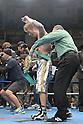 Yota Sato (JPN),.MARCH 27, 2012 - Boxing :.Referee Jack Reiss puts the champion belt on Yota Sato of Japan as he celebrates after winning the WBC super flyweight title bout at Korakuen Hall in Tokyo, Japan. (Photo by Hiroaki Yamaguchi/AFLO)