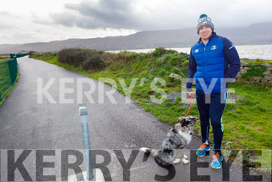 Mark Waters from Tralee taking his dog for a walk on the new walkway between Cockleshell Rd and Lohercannon.