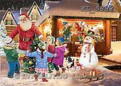 Interlitho, Patricia, CHRISTMAS NOSTALGIC, paintings, santa, 4 kids, snowman, KL5882,#x nostalg Weihnachten, nostalgisch, Navidad, nostálgico, illustrations, pinturas