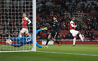 Arsenal's Alexandre Lacazette scores his side's first goal  <br /> <br /> Photographer Rob Newell/CameraSport<br /> <br /> UEFA Europa League Group E - Arsenal v FK Qarabag - Thursday 13th December 2018 - Emirates Stadium - London<br />  <br /> World Copyright © 2018 CameraSport. All rights reserved. 43 Linden Ave. Countesthorpe. Leicester. England. LE8 5PG - Tel: +44 (0) 116 277 4147 - admin@camerasport.com - www.camerasport.com