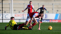 Fleetwood Town's Lewis Coyle vies for possession with Burton Albion's David Templeton<br /> <br /> Photographer Chris Vaughan/CameraSport<br /> <br /> The EFL Sky Bet League One - Saturday 23rd February 2019 - Burton Albion v Fleetwood Town - Pirelli Stadium - Burton upon Trent<br /> <br /> World Copyright © 2019 CameraSport. All rights reserved. 43 Linden Ave. Countesthorpe. Leicester. England. LE8 5PG - Tel: +44 (0) 116 277 4147 - admin@camerasport.com - www.camerasport.com