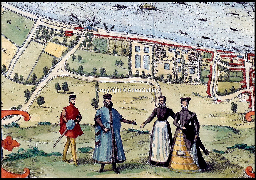 BNPS.co.uk (01202 558833)<br />Pic:  AtleaGallery/BNPS<br /> <br /> Bear baiting is shown in Southwark, and there are drawings of Elizabeth figures around the map's edges.<br /> <br /> An extremely rare example of the earliest surviving map of London has emerged for sale for £11,000.<br /> <br /> The 1572 city plan by engraver Frans Hogenburg provides a fascinating bird's eye view of the nation's capital.<br /> <br /> It reveals there was a large settlement north of the Thames, but south of it was very sparsely populated.<br /> <br /> There are drawings of many boats weaving their way down the river, which could only be crossed by the Old London Bridge.
