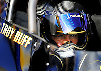 Jan 24, 2009; Chandler, AZ, USA; NHRA top fuel driver Troy Buff during testing at the National Time Trials at Firebird International Raceway. Mandatory Credit: Mark J. Rebilas-