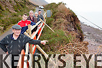 Patrick Sullivan, Tommy Cahill, Michael Cahill, Fr Pat Sheehan and Jim Sullivan on the cliffside road over looking Rossbeigh beach which is extremely dangerous after a portion of the cliff subsided into the ocean