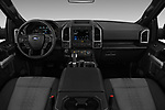 Stock photo of straight dashboard view of a 2018 Ford F-150 XLT 4wd SuperCrew 4 Door Pick Up