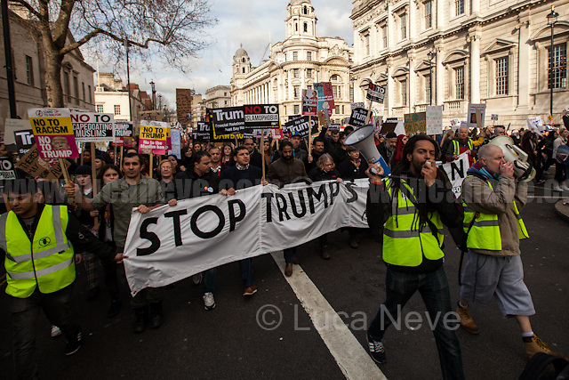 London, 04/02/2017. Today, tens of thousands of people marched from the US Embassy to Downing Street to protest against Donald Trump's (so-called) &quot;Muslim Ban&quot; (From Wikipedia: &lt;&lt;&quot;Protecting the Nation from Foreign Terrorist Entry into the United States&quot; is an executive order signed by U.S. President Donald Trump on January 27, 2017. The order, part of Trump's immigration-related campaign promises, suspends the U.S. Refugee Admissions Program - USRAP - for 120 days, after which the program will be conditionally resumed for individual countries. The executive order also suspends entry, regardless of valid non-diplomatic visa, by alien nationals of Iraq, Iran, Libya, Somalia, Sudan, Syria and Yemen for 90 days, after which an updated list of prohibited countries will be determined. Further, the order suspends entry of refugees from Syria indefinitely [...]&gt;&gt;. From the organisers Facebook event page: &lt;&lt;[&hellip;] Trump's ban on Muslims must be opposed by all who are against racism and support basic human rights. Theresa May's collusion with Trump must end [&hellip;]&gt;&gt;. The demonstration was organised by: Stop the War Coalition, Stand Up to Racism, Muslim Association of Britain, Muslim Engagement and Development, the Muslim Council of Britain, CND, Friends of Al-Aqsa, The People's Assembly Against Austerity and Help Refugees Worldwide.<br /> <br /> For more information please click here: https://www.facebook.com/events/1761835547477556/