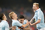 Celta de Vigo's Hugo Mallo, Daniel Wass, Pablo Hernandez and John Guidetti celebrate goal during Spanish Kings Cup match. January 27,2016. (ALTERPHOTOS/Acero)