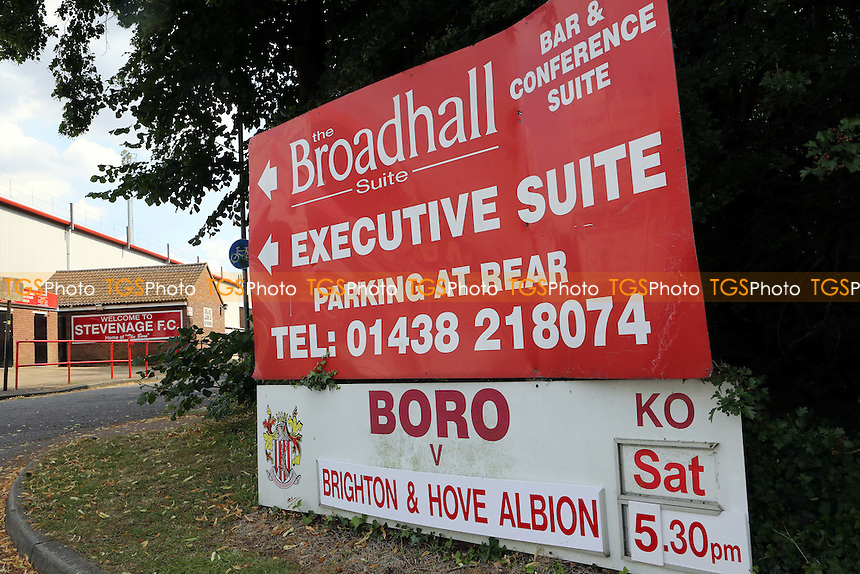 A sign showing directions to the Executive Suite at Stevenage during Stevenage vs Brighton and Hove Albion, Friendly Match Football at the Lamex Stadium on 23rd July 2016