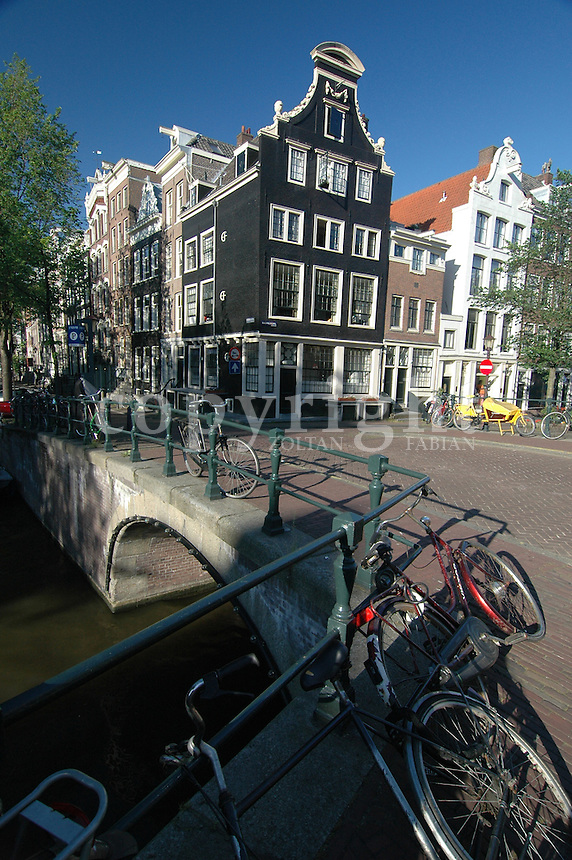 Classic houses and bicycles in Amsterdam, The Netherlands, Europe
