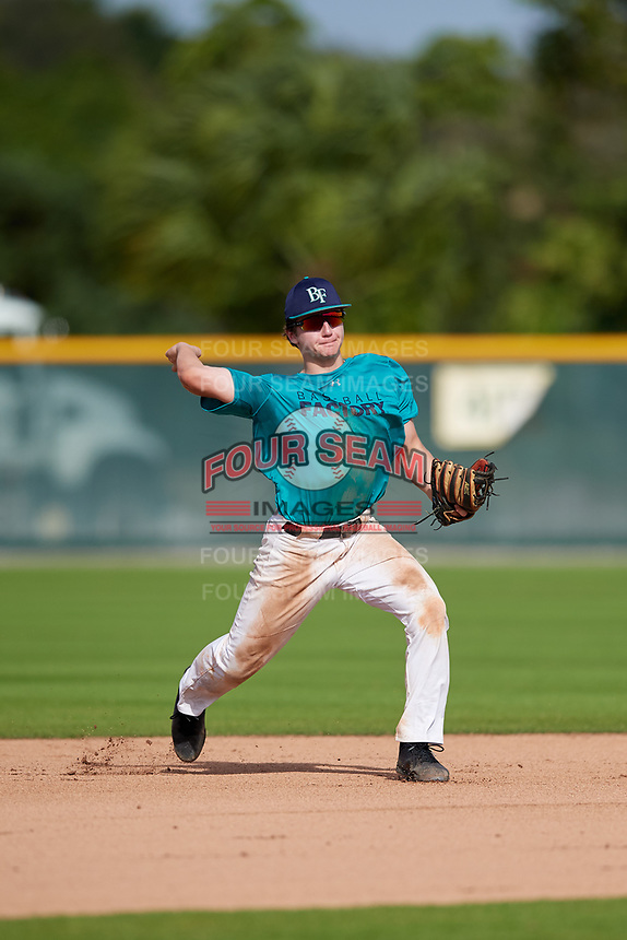 Michael Cacioppo (67) of SpringWield, New Jersey during the Baseball Factory Pirate City Christmas Camp & Tournament on December 28, 2018 at Pirate City in Bradenton, Florida. (Mike Janes/Four Seam Images)