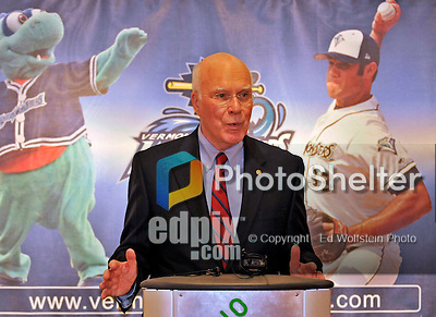 23 May 2008: Senator Patrick Leahy (D) announces an upcoming baseball event wherein the Boston Red Sox 2007 World Series trophy will make a special appearance at Historic Centennial Field on Friday, June 27th, 2008, when the Vermont Lake Monsters will host the Red Sox New York-Penn League affiliate, the Lowell Spinners. The trophy will be on display at the field before the game and fans will then have a chance to have their picture taken with the trophy during the game...Mandatory Photo Credit: Ed Wolfstein Photo