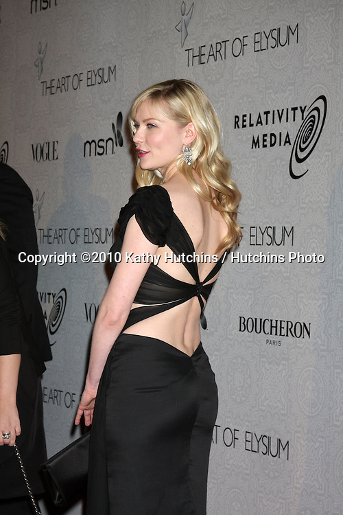 Kirsten Dunst.arriving at the 3rd Annual Art of Elysium Gala.Rooftop of Parking Garage across from Beverly Hilton Hotel.Beverly Hills, CA.January 16, 2010.©2010 Kathy Hutchins / Hutchins Photo....