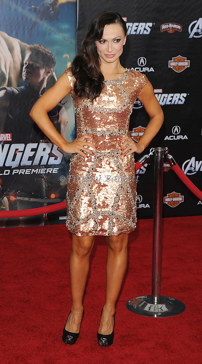 Karina Smirnoff at the premiere of Marvel's The Avengers, held at El Capitan Theatre in Hollywood,  CA. April 11, 2012