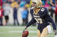 Annapolis, MD - OCT 8, 2016: Navy Midshipmen wide receiver Brandon Colon (87) celebrates after catching a touchdown late in the fourth quarter during game between Houston and Navy at Navy-Marine Corps Memorial Stadium Annapolis, MD. The Midshipmen upset #6 Houston 46-40. (Photo by Phil Peters/Media Images International)