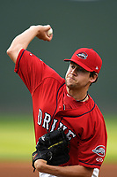 Starting pitcher Hunter Haworth (20) of the Greenville Drive delivers a pitch in a game against the Rome Braves on Friday, April 13, 2018, at Fluor Field at the West End in Greenville, South Carolina. Rome won, 10-6. (Tom Priddy/Four Seam Images)