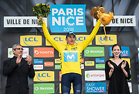 Picture by Alex Broadway/SWpix.com - 11/03/2018 - Cycling - 2018 Paris Nice - Stage Eight - Nice to Nice - Marc Soler of Movistar Team celebrates overall victory.<br /> <br /> NOTE : FOR EDITORIAL USE ONLY. THIS IS A COPYRIGHT PICTURE OF ASO. A MANDATORY CREDIT IS REQUIRED WHEN USED WITH NO EXCEPTIONS to ASO/Alex Broadway MANDATORY CREDIT/BYLINE : ALEX BROADWAY/ASO