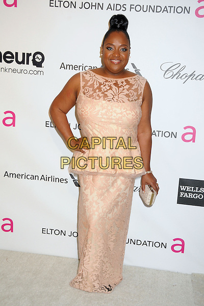 Sherri Shepherd.21st Annual Elton John Academy Awards Viewing Party held at West Hollywood Park, West Hollywood, California, USA..February 24th, 2013.oscars full length white pink peplum sleeveless lace dress hand on hip gold clutch bag.CAP/ADM/BP.©Byron Purvis/AdMedia/Capital Pictures.