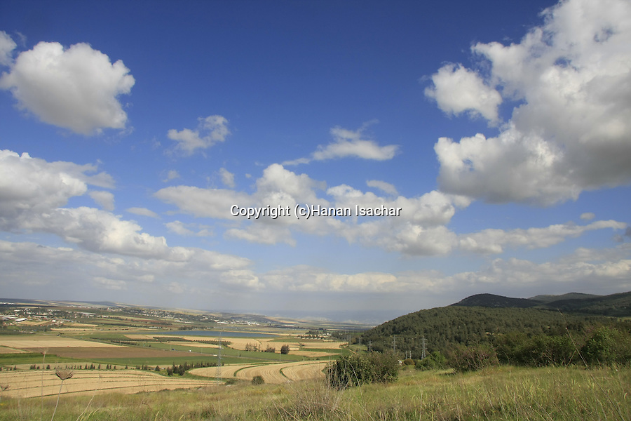 Israel, a view of Harod Valley and Mount Gilboa from Tel Jezreel