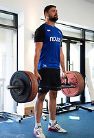 Elliott Stooke of Bath Rugby in the gym. Bath Rugby pre-season training on July 2, 2018 at Farleigh House in Bath, England. Photo by: Patrick Khachfe / Onside Images