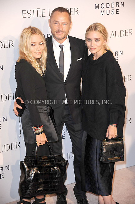 WWW.ACEPIXS.COM<br /> September 12, 2013...New York City<br /> <br /> Mary-Kate Olsen, Tom Pecheux, Ashley Olsen attending the Estee Lauder 'Modern Muse' Fragrance Launch Party at the Guggenheim Museum on September 12, 2013 in New York City.<br /> <br /> Please byline: Kristin Callahan/Ace Pictures<br /> <br /> Ace Pictures, Inc: ..tel: (212) 243 8787 or (646) 769 0430..e-mail: info@acepixs.com..web: http://www.acepixs.com
