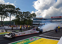 May 30, 2014; Englishtown, NJ, USA; NHRA top fuel driver Antron Brown during qualifying for the Summernationals at Raceway Park. Mandatory Credit: Mark J. Rebilas-