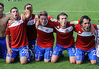 FUSSBALL   DFB POKAL   SAISON 2011/2012  1. Hauptrunde SpVgg Unterhaching - SC Freiburg             31.07.2011 JUBEL Oemer Kanca  , Yannic Thiel , Mijo Tunjic , Markus Schwabl (v. li., Unterhaching)